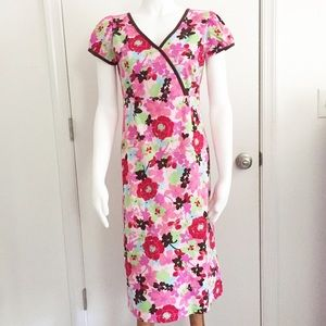 Hanna Andersson Floral and Piping V Neck Dress